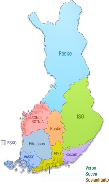 Sosiaalialan osaamiskeskukset kartalla